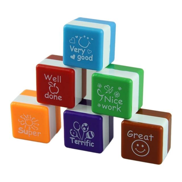6pcs english Teachers Stampers Self Inking Praise Reward Stamps cute cartoon Motivation Sticker School SF002