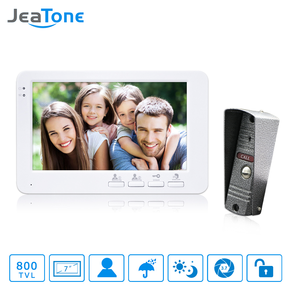 JeaTone 7 inch TFT Color Monitor 800TVL Camera Video Door Phone Intercom Security Speaker System Waterproof IR Night Vision tmezon 4 inch tft color monitor 1200tvl camera video door phone intercom security speaker system waterproof ir night vision 1v1