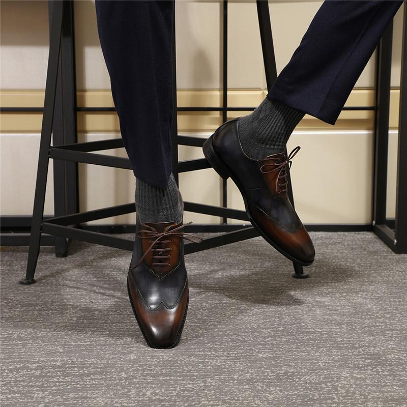 Echtes Leder Männer Formale Oxfords Schuhe Business Büroarbeit Kleid Schuhe für Männer Komfortable Spitzen Bis Spitz Größe 39 46 - 5