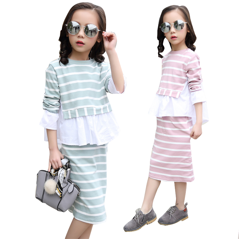 Girls Clothing Sets Cotton Striped T-Shirts & Skirts 2Pcs Long Sleeve Girls Outfits 4 5 7 9 11 12 Years Children School Clothes