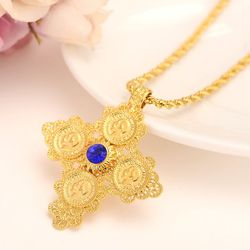 Coin Cross Pendants Italian rope Necklaces Red Green Blue Solitaire 14 k Yellow Solid Gold GF Exquisite Jewelry Gift Boxed