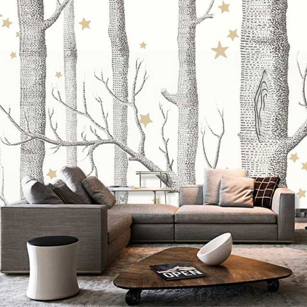 White Forest Living Room Background of Gray Trees 3D wallpaper tree ...