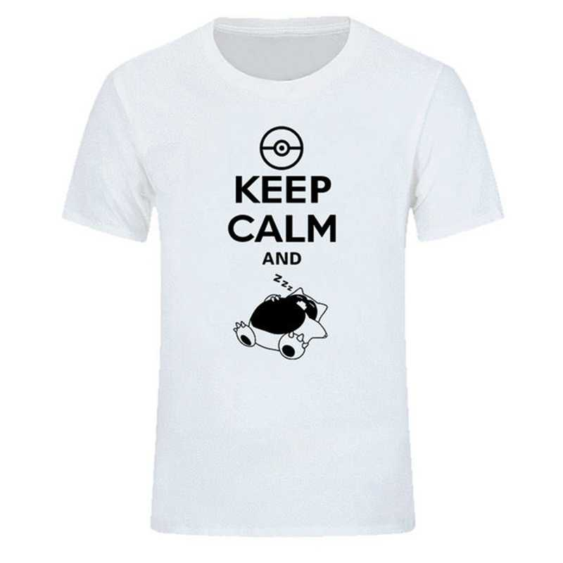 Футболка Keep Calm And Carry On Snorlax Sleep On pokemon для мужчин и женщин, музыка рок-н-ролл-группа, топы, футболка, Повседневная футболка