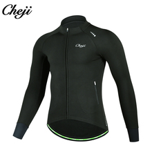 CHEJI Men Thermal Fleece Cycling Jacket Keep Warm Windproof  Autumn Winter Long Sleeves Bicycle