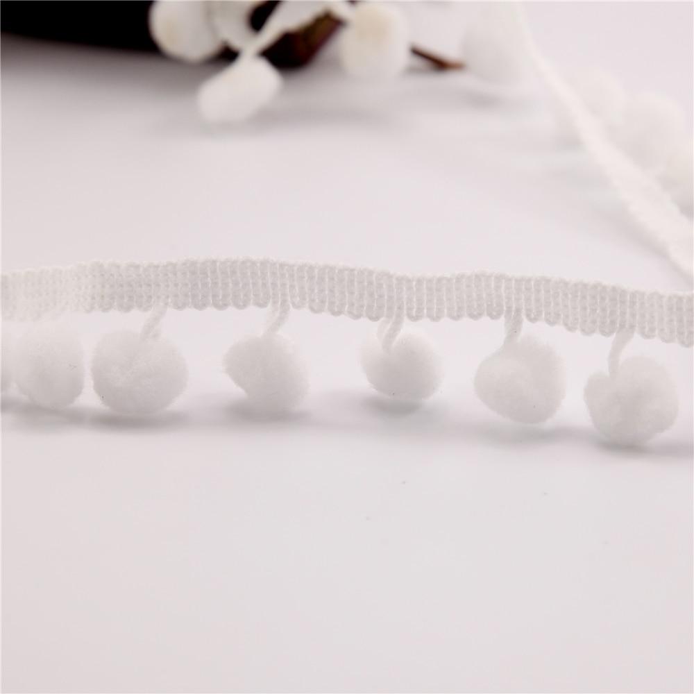 Оптовая продажа 100yds Белый Отделка помпонами (POM Размер 10 мм) мяч Лента отделка Bobble кос Кружева Свадебные украшения Fringe Швейные