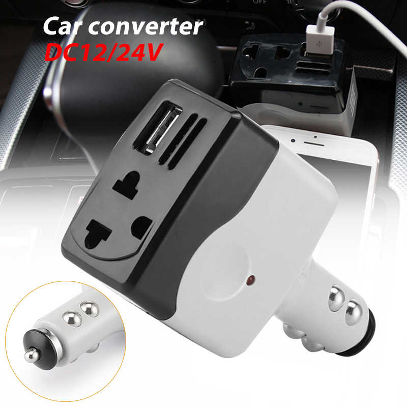 Drop shipping DC 12/24 V to DC 220 V/USB 6 V 5W Car Power Inverter Adapter Mobile Auto Power Car Charger Converter With USB