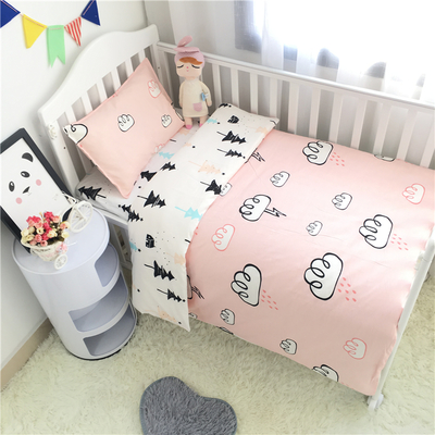 New Arrive star Hot crib bed 100% cottotton cute 3pcs baby Bedding set include pillow case+bed sheet+duvet cover without filling chic quality flamingo and lotus pattern flax pillow case(without pillow inner)