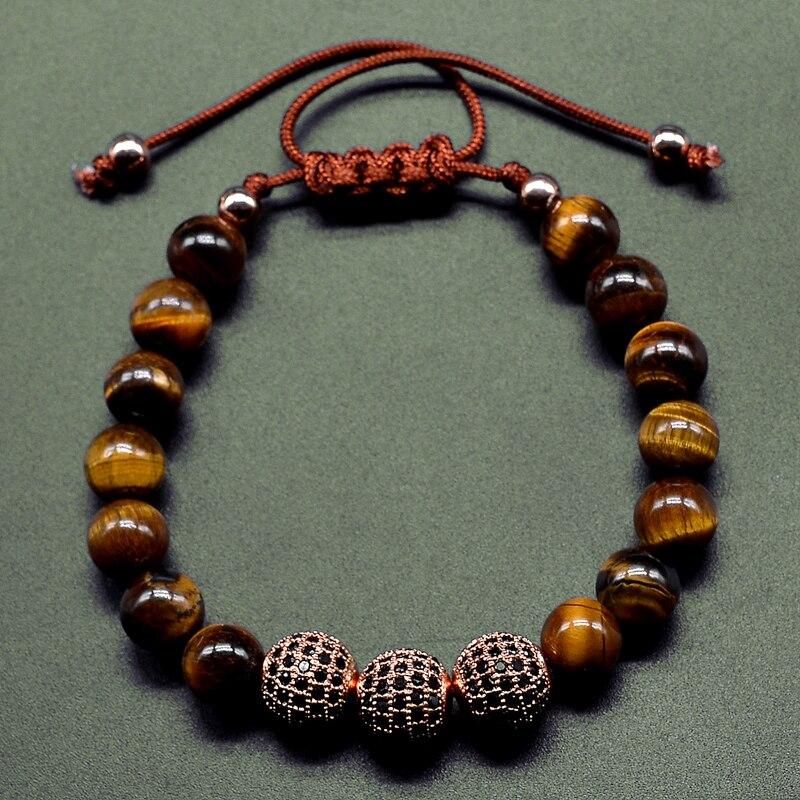 New Men Bracelet 8MM Tiger Eye Stone & 10mm Micro Pave Black CZ Beads Braiding Bracelet Handmade Friendship Mens Charm Jewelry