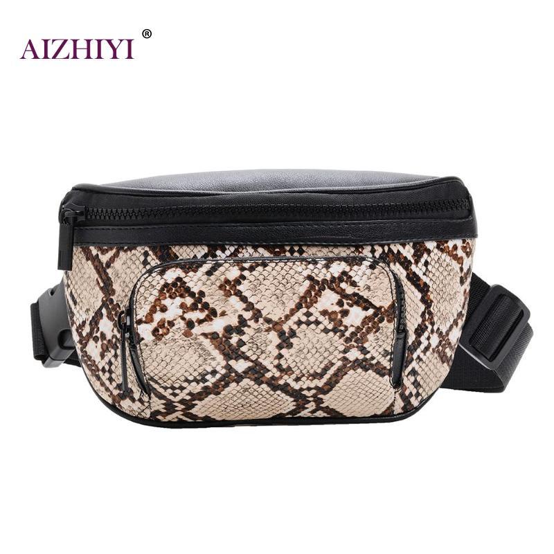 Female Fashion Large Snake Print Zipper Crossbody Bags Women Waist Fanny Belt Packs PU Leather Shoulder Chest Bags