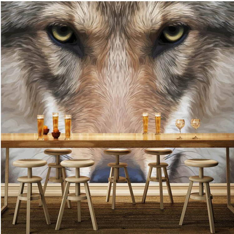 Bacaz Large Plush Wolf Animal 3D Papel Wall Murals Wallpaper for Living Room Sofa Background 3d Photo Murals 3d Wall Stickers white horse animal murals 3d animal wallpaper papel mural for dinning room background 3d wall photo murals wall paper 3d sticker