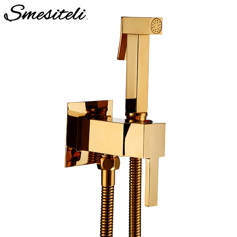 Smesiteli Toilet Brass Bidet Spray Shower Bidet Set Copper Valve Bathroom Bidet Shower Sprayer Wall Mounted Tap Mixer