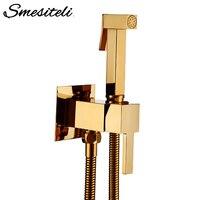 Smesiteli Toilet Brass Bidet Spray Shower Bidet Set Copper Valve Bathroom Bidet Shower Sprayer Wall Mounted Tap Mixer
