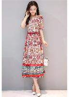 Printed Chiffon Dress Female Dress 2017 Summer New Fashion Korean Slim Was Thin V Collar Long