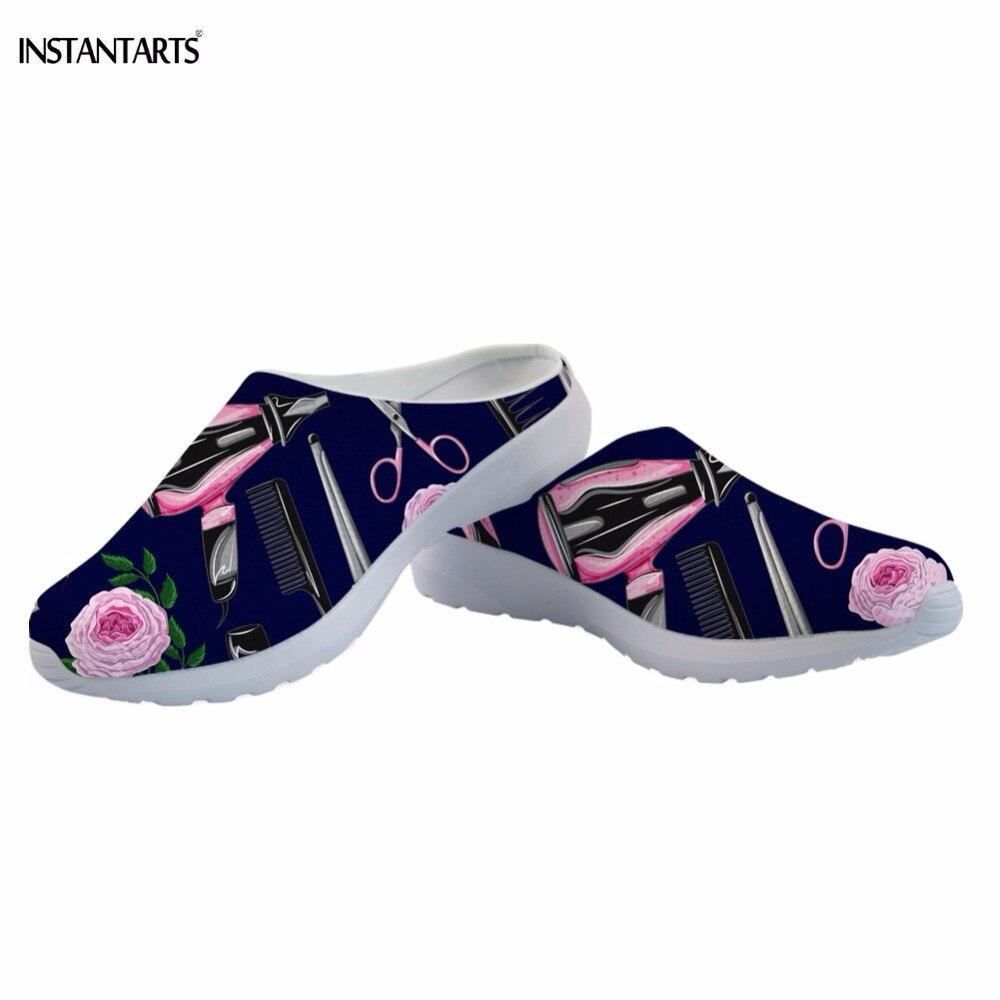 Equipamentos de Cabeleireiro INSTANTÂNEOS/Hair Stylist Impressão Praia Sapatos para As Mulheres Ao Ar Livre Respiração Verão Sandálias Chinelos de Malha Aérea