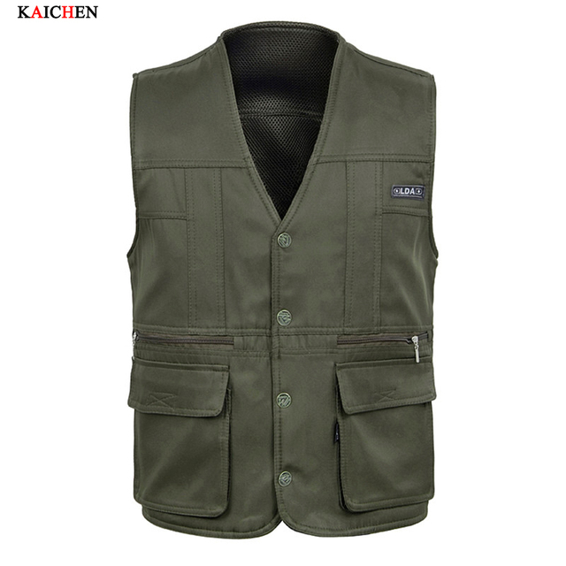 New Arrival Summer Cotton Casual Breathable Men Vest for Shooting Clothes Reporter Vest Jackets Multi-pocket Photography Vest