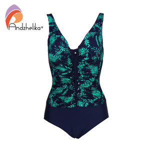 Image 3 - Andzhelika 2020 New Women Plus Size Swimsuit Print One Piece Swimwear Fold Bodysuit Bathing Suit Brazilian Summer Beach Monokini