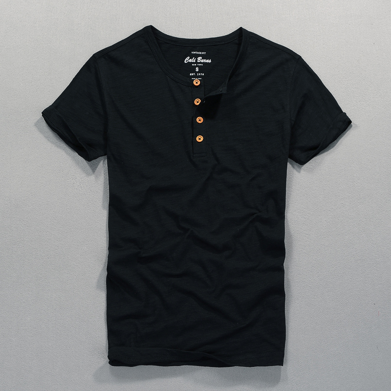 Four buttons round neck short sleeve cotton t shirt men summer brand t-shirt mens solid soft slim tshirt men camiseta camisa