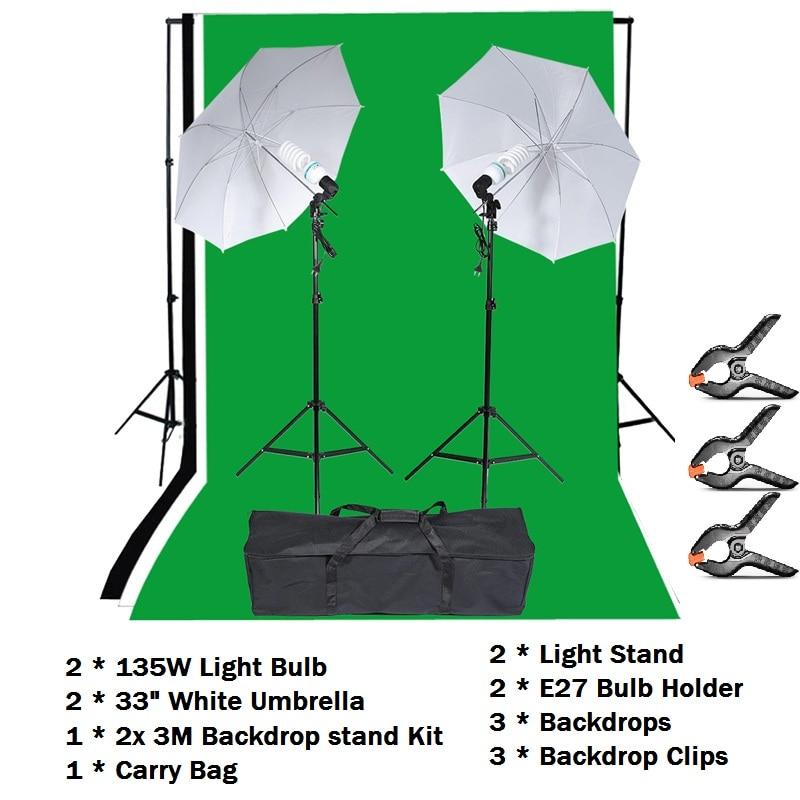 Kit d'éclairage de photographie Lightdow Kit de Studio de Photo avec support de toile de fond support de lumière ampoule souple parapluie sac de transport ect