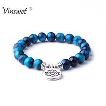 58dee8abdd46 Azul real de piedra Ojo de Tigre pulsera Yoga Chakra Mala pulsera de los  hombres de las mujeres con cuentas pulsera del encanto .