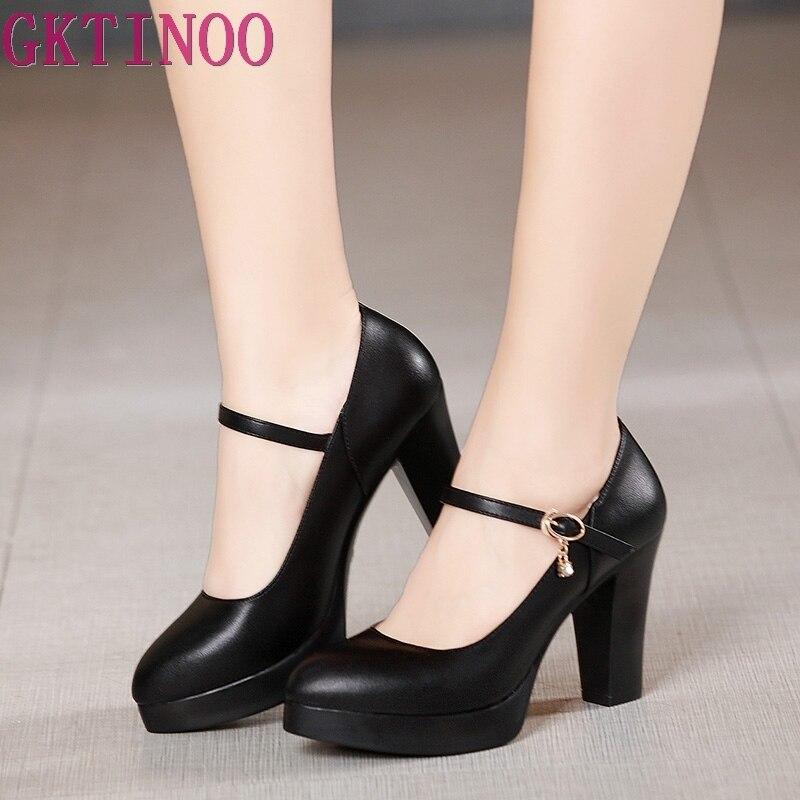 Zapatos GKTINOO de piel auténtica para mujer, zapatos con punta redonda, zapato femenino de tacón alto, zapatos de trabajo negros de moda poco profundos de talla grande 33-43 KYSZDL gran oferta de alta calidad Natural granate pulsera moda mujer cristal pulsera joyería regalos