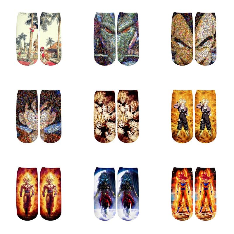 PLstar Cosmos Anime Dragon Ball Z Son Goku/Son Gohan/Vegeta Cotton Socks Colorful Warm Cartoon Short Ankle Socks-1