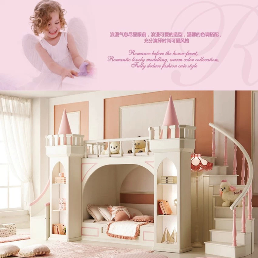 US $3000.0 |European princess children bedroom furniture double bunk bed  Pine wooden ladder-in Children Furniture Sets from Furniture on AliExpress  - ...