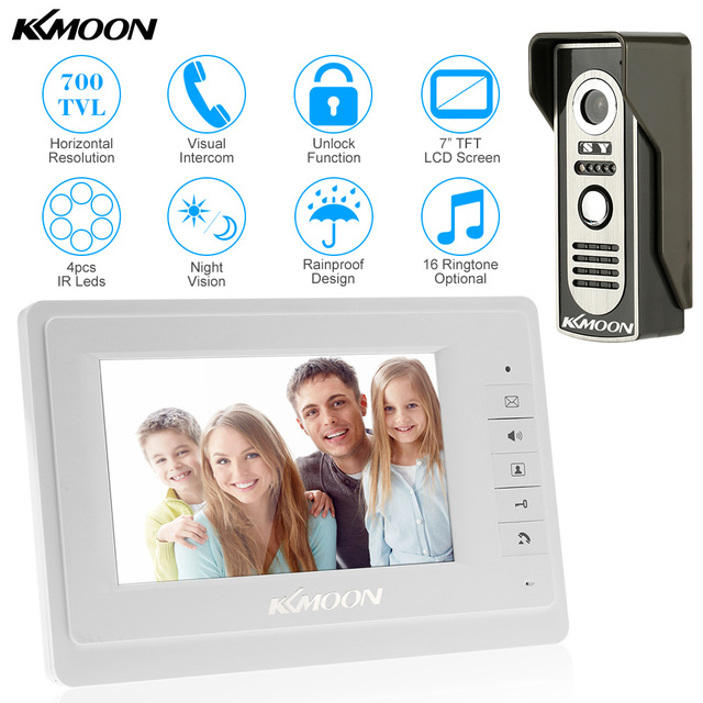 """7"""" Wired Video Door Phone System Visual Intercom Doorbell with 1*800x480 Monitor + 1*700TVL Outdoor Camera for Home Surveillance"""