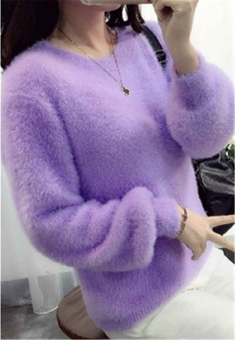 19 Sweater Women Fashion Casual Simple Lantern Sleeve Solid Color Loose Comfort Cashmere Knitting Mohair Fur Pullover USWMIE 5