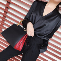 Deep V Neck Women Shirt Pure Color Tops Autumn Summer Spring Female Long Sleeve Elegant Office Lady Blouse