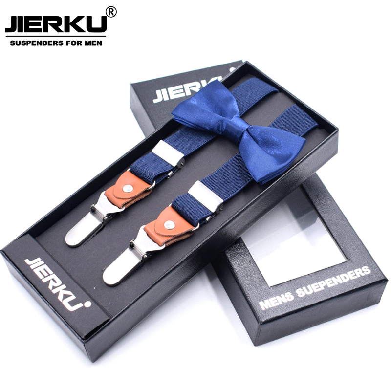 JIERKU Suspenders Mans Braces 3Clips Suspenders with Bow Tie Suspensorio Trousers Strap Father/Husbands Gift