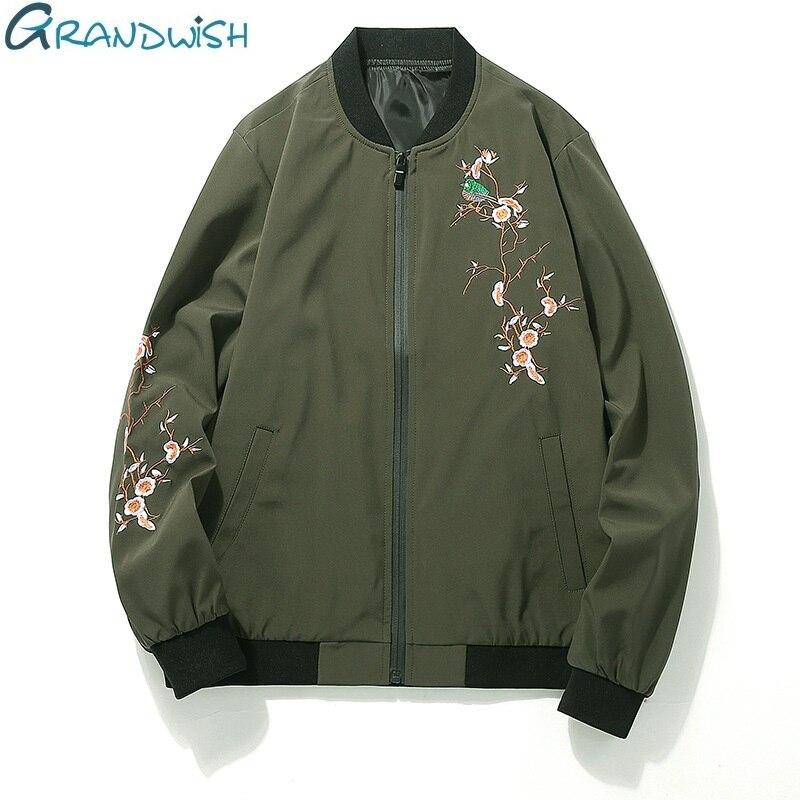 Grandwish Floral Embroidery Jacket Bomber Men 2017 New Flower Jacket Men Outwear Stand Collar Men s