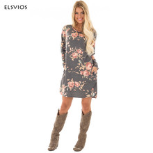 Фотография ELSVIOS New Floral Printed Dress 2017 Autumn Women Long Sleeve Flower Dress Pockets Parchwork Vintage Dress Women Casual Dresses