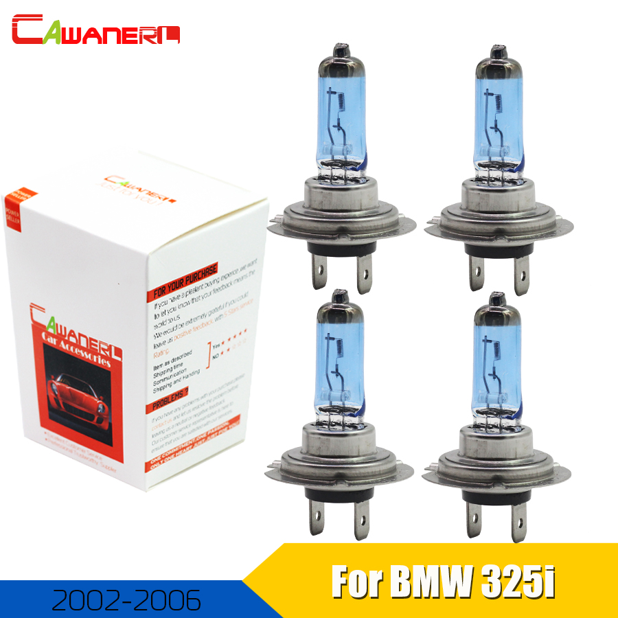 US $11 27 49% OFF|Cawanerl 4 Pieces H7 100W Car Halogen Bulb For BMW 325i  2002 2006 Headlight Light High Low Beam 4300K Warm White 12V DC-in Car  Light