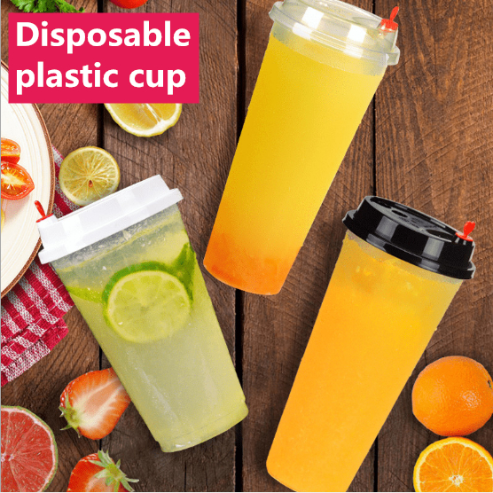100pcs Clear Disposable Plastic  milk Tea Coffee Cups with Lids for Iced  hot Coffee Bubble Smoothie 400ml 500ml 600ml 700ml mug