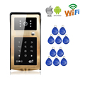 Free Shipping 720P Wifi Video Door Phone Intercom Golden Metal Waterproof Doorbell RFID Code Keypad APP for IOS Android Phone