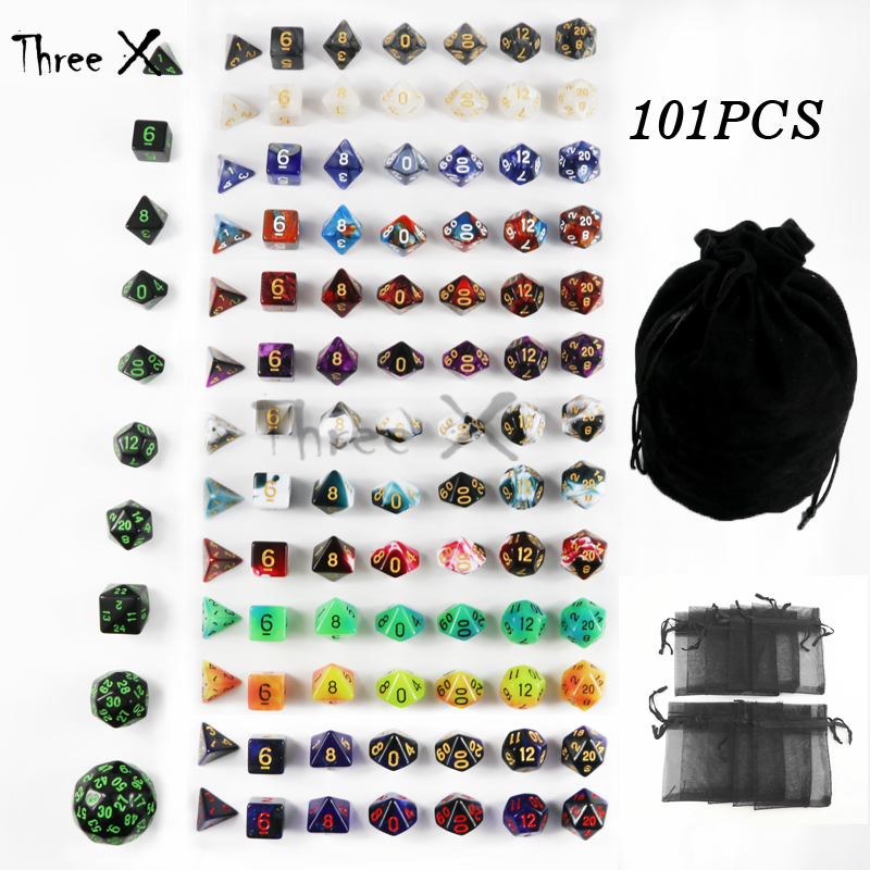 101PCS <font><b>Dice</b></font> with Bag Polyhedral D4 D6 D8 D10 D10% D12 D20 ,D30,<font><b>D60</b></font> for RPG D&D Board Game Xmas Gifts image
