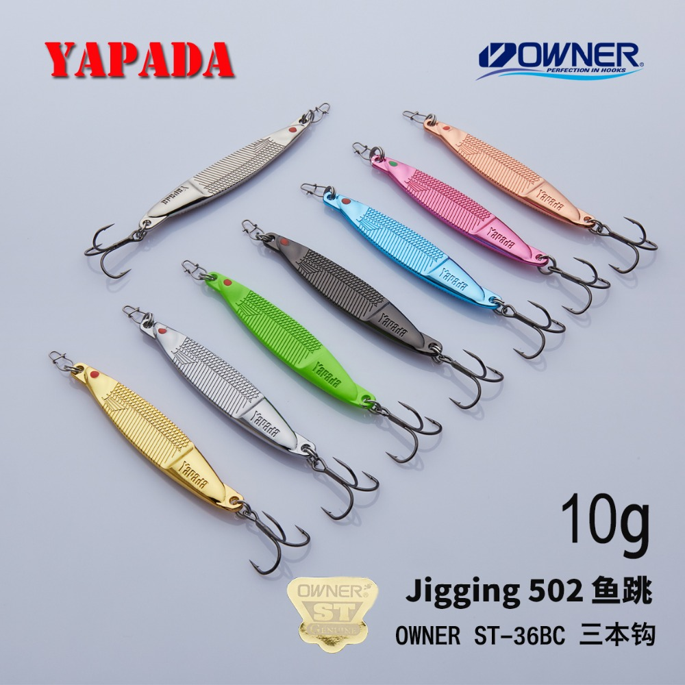 YAPADA Jigging 502 Fish Jump 10g / 15g OWNER Treble Hook 66mm / 75mm Feather Multicolor Metal თუთიის დისკები Fishing Lures