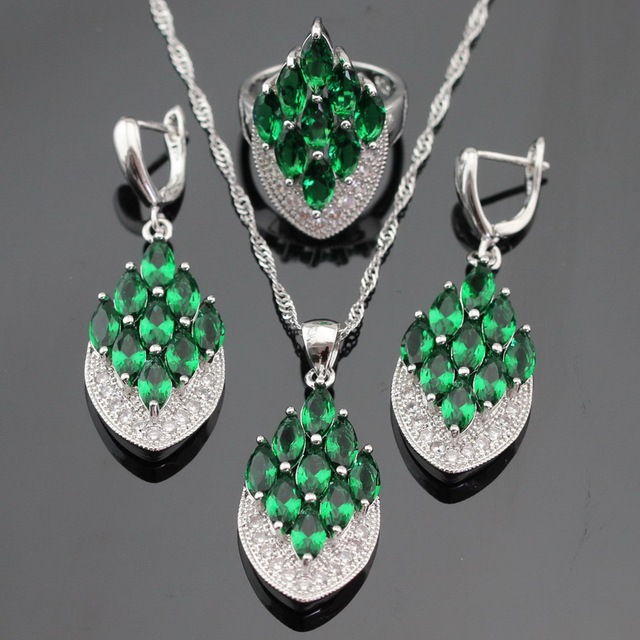 Ashley Silver Color Jewelry Sets For Women Green Created Emerald White CZ Necklace Pendant Drop Earrings Rings Free Gift Box