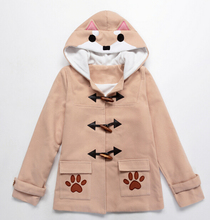 Cuper Cute Doge Muco Winter Horn Cute MUKO button Plush claw Coat Hoodie dog jacket  hoodie