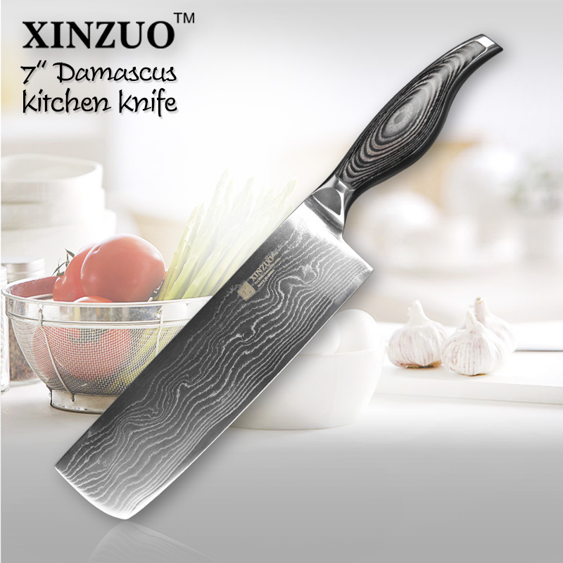XINZUO 7 inch chef font b knife b font 73 Layers VG10 Damascus Steel kitchen font