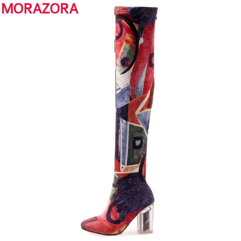 MORAZORA 2018 New fashion high quality over the knee boots colorful high heels autumn winter thigh high boots sexy shoes morazora 2018 new arrival over the knee boots women flock autumn winter boots fashion sexy long boots high heels dress shoes