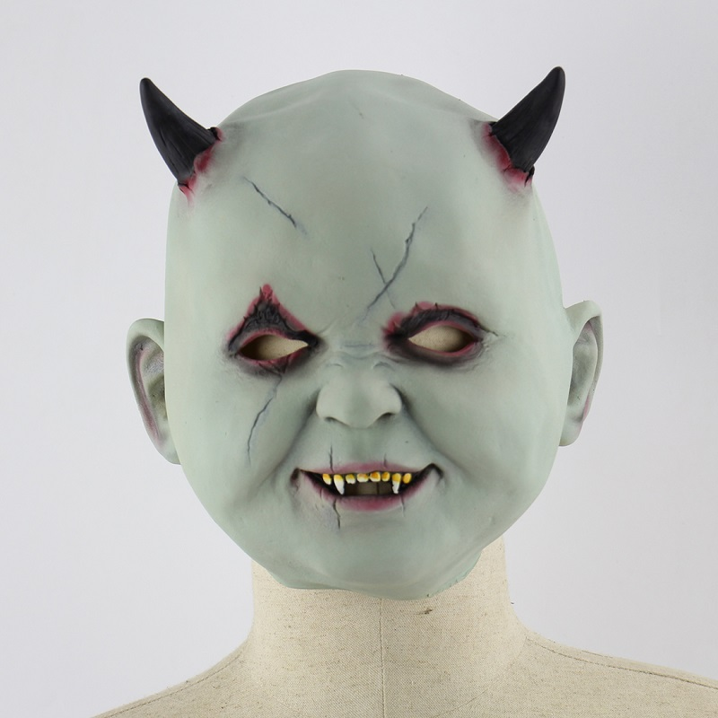 Zombie mask Green vampire demon Latex Mask Goblins Horror Creepy Costume Party Cosplay Props Scary Mask for Halloween Terror