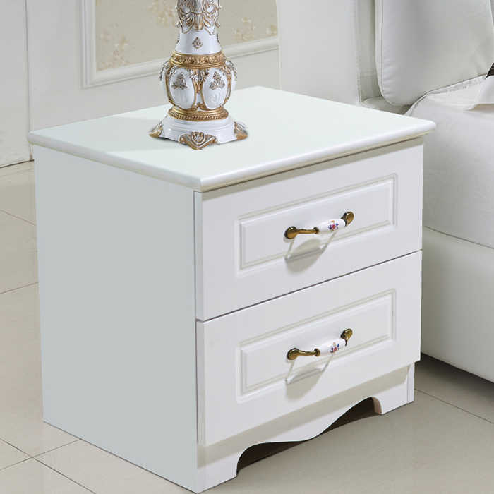 White minimalist paint bedside table European simple modern locker bedroom multi-functional assembly storage bedside table