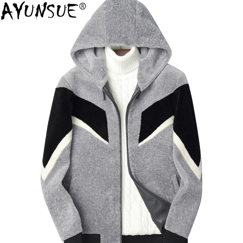 AYUNSUE Real Fur Coat Men Sheep Shearling Autumn Winter Wool Coat Men's Jackets Short Hooded Leather Jacket Man Clothes KJ823
