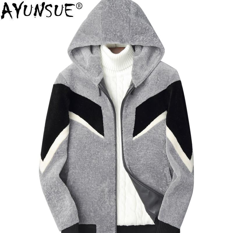 AYUNSUE Real Fur Coat Men Sheep Shearling Autumn Winter Wool Coat Men s Jackets Short Hooded