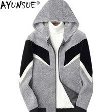 AYUNSUE натуральным мехом пальто Для мужчин овечья шерсть осень-зима Шерстяное пальто Для мужчин куртки короткие кожаная куртка с капюшоном человек одежда KJ823