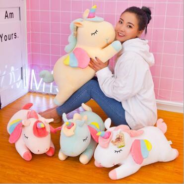 WYZHY arc-en-ciel ange licorne oreiller en peluche jouet canapé chambre décoration envoyer des amis enfants cadeaux 80 CM