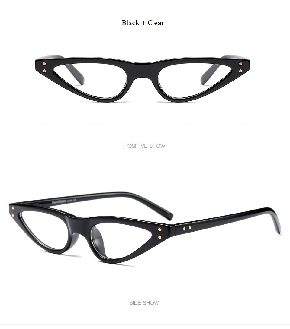 HTB1XPCZdS I8KJjy0Foq6yFnVXat - Unisex Flat Top Eyeglasses Small Triangle Frame Cat Eye Sunglasses Women UV400 2018 Fashion Color Ocean Film Sun Glasses Cool