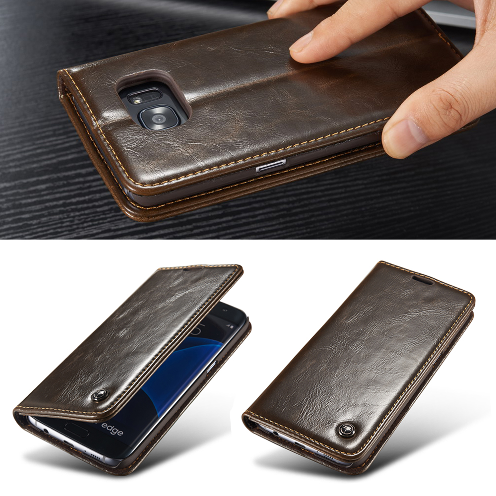finest selection 4389d 8a048 US $8.54 5% OFF|Original Phone Case For Samsung Galaxy S6/ Edge/ Edge Plus  Luxury PU Leather Magnetic Flip Wallet Case For Galaxy S6 Edge Cover-in ...