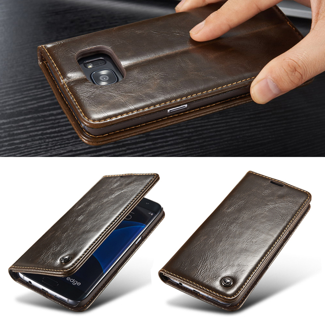 finest selection 677d0 8491e US $8.54 5% OFF|Original Phone Case For Samsung Galaxy S6/ Edge/ Edge Plus  Luxury PU Leather Magnetic Flip Wallet Case For Galaxy S6 Edge Cover-in ...